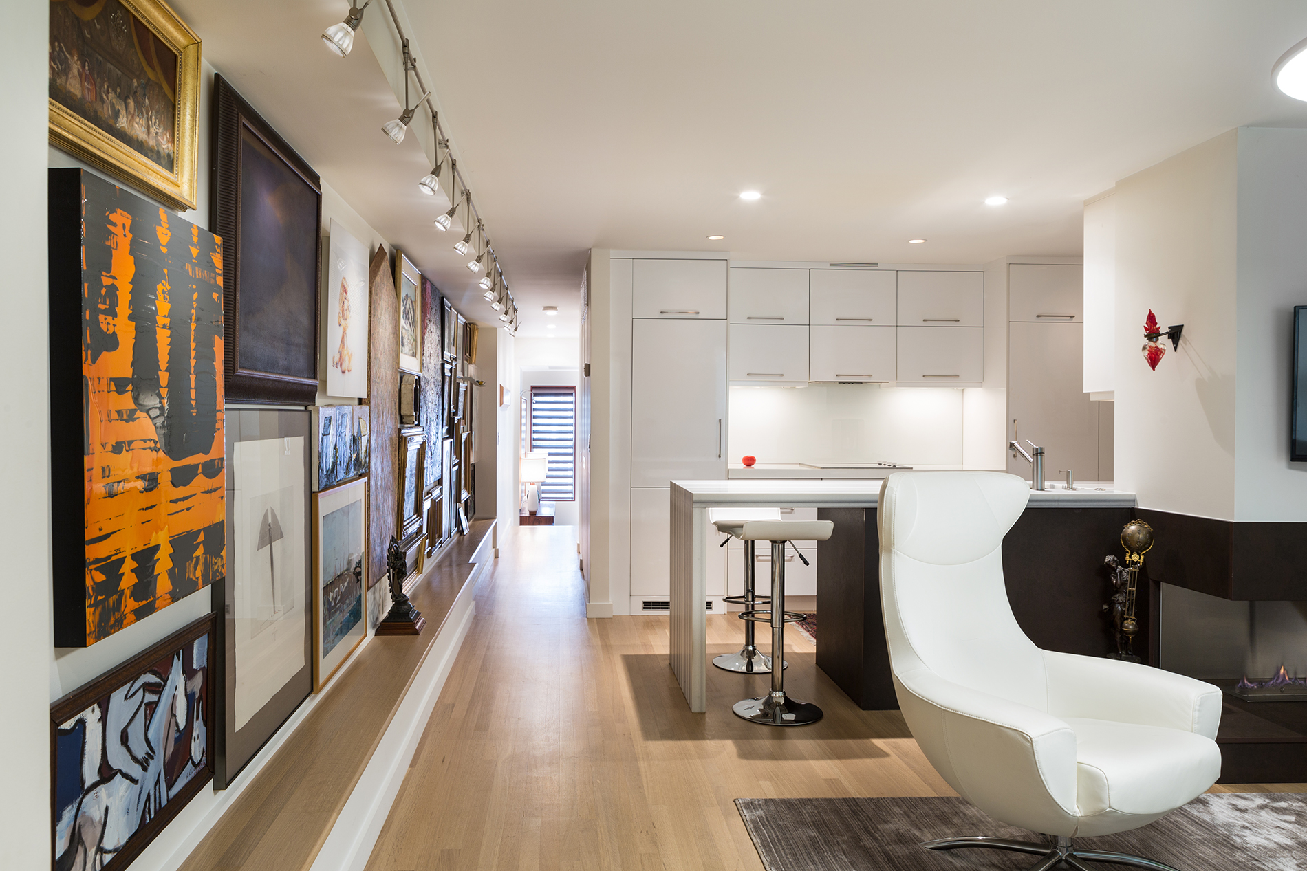 Art wall and kitchen in DC duplex