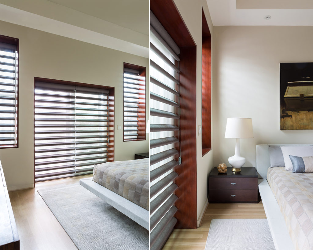 Contemporary bedroom with vision blinds