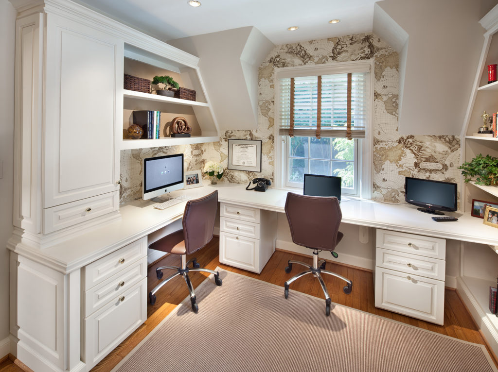 Home office with global map wallpaper