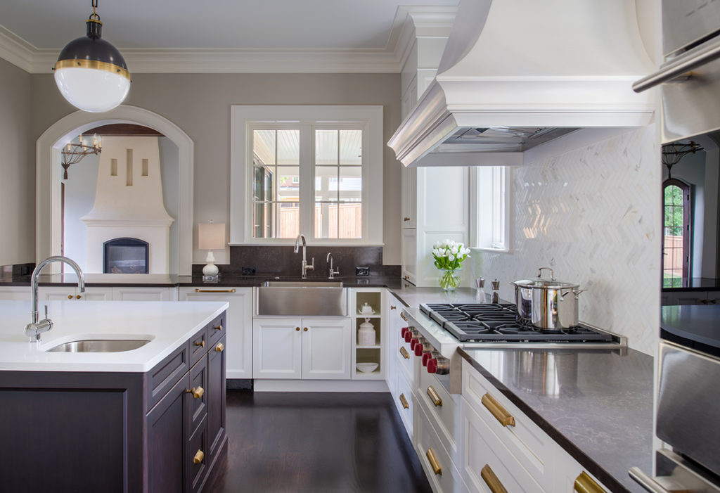 French country style kitchen with mixed metals